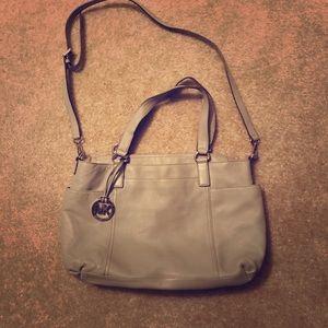 Michael Kors gray Leather Tote Shoulder Bag authen